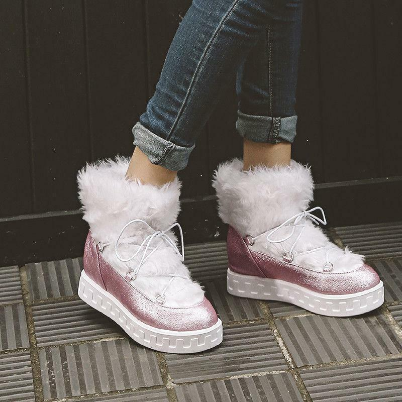 Women Ankle Snow Boots Faux Fur Lace Up Mid Wedge Heels Casual shoes Winter B4