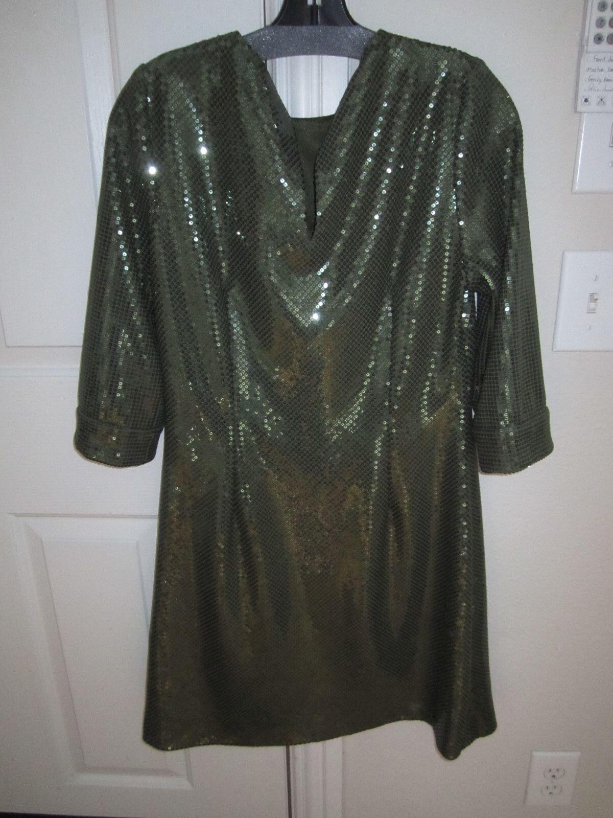 Vestido de lentejuelas  verdes CHETTA B-Sherrie Bloom Peter novielo Talla 12