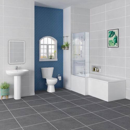 Full Modern Bathroom Suite LH L Shape Shower Bath Toilet Basin Sink Taps Splash