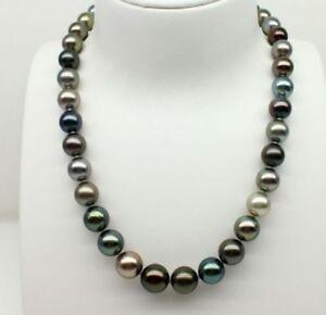 Huge-18-034-11-12mm-Tahitian-Black-Multicilor-Cultured-Pearl-Necklace-real-14K-585