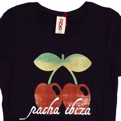 Pacha Ibiza Women/'s T-shirt Watercolour Cherry Logo White Top Festival Tee