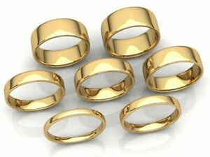 Euro-Dome-Plain-Band-Ring-Mens-Womens-2mm-3mm-4mm-5mm-6mm-7mm-8mm-Solid-10k-Gold