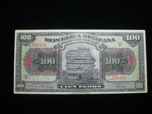 1915 MEXICO 100 CIEN PESO CURRENCY NOTE NICE CIRCULATED