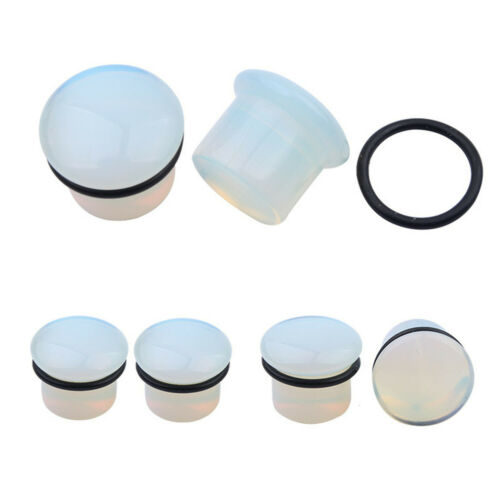 2x Round Magnesite Opal Stone Ear Stretching Kit Ear Expander Tunnel Plug Pierce