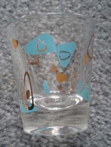 Federal-MID-CENTURY-ATOMIC-AMOEBA-SHOT-GLASS-Retro-Funky-Boomerang-Turquoise