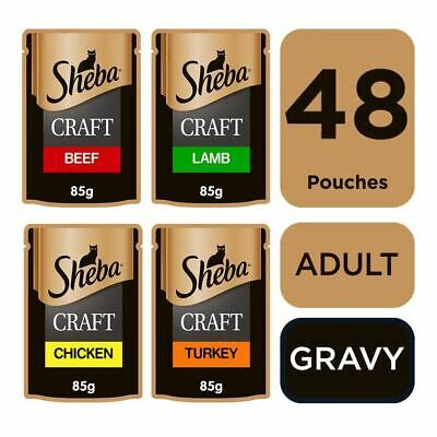 Sheba Craft Adult Wet Cat Food Pouches Succulent Selection Gravy 48x85g Pouch