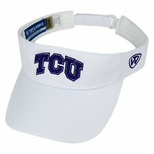 Details about TCU HORNED FROGS UNIVERSITY NCAA WHITE ADJUSTABLE HAWKEYE  VISOR CAP HAT NEW! TOW d8db2b83fee