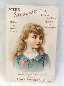 Victorian Trade Card -Ayer's Sarsaparilla of Lowell, Mass. Girl in blue dress