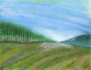FOLK ART PRIMITIVE NATURE WILDFLOWERS FIELD EASTER GARDEN LANDSCAPE ART PAINTING