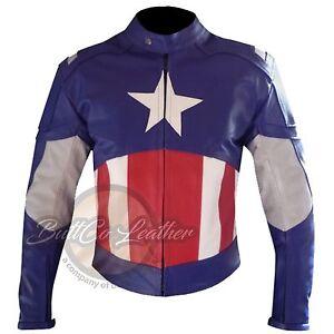 NEUF-AVENGERS-CAPTAIN-AMERICA-CUIR-Moto-Racing-Protection-Veste-de-motard