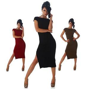 Kleid-Beinschlitz-elegant-Neu-sexy-einfarbig-Mode-Damen-lang-Strickkleid-Groesse