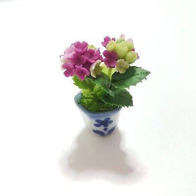 Purple Hydrangea Clay Flower Handmade Dollhouse Miniature Collectible Garden