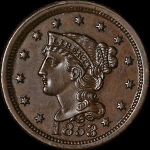 1853 Large Cent Nice BU+ N-26 R.2 Superb Eye Appeal Strong Strike