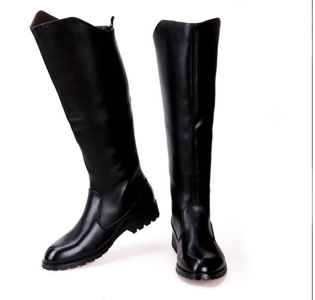 Men Hot Leather Knee High Equestrian Shoes Riding Boots Military BootsSize# NEW