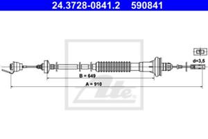 Kupplungsbetätigung für Kupplung ATE 24.3728-0841.2 Seilzug