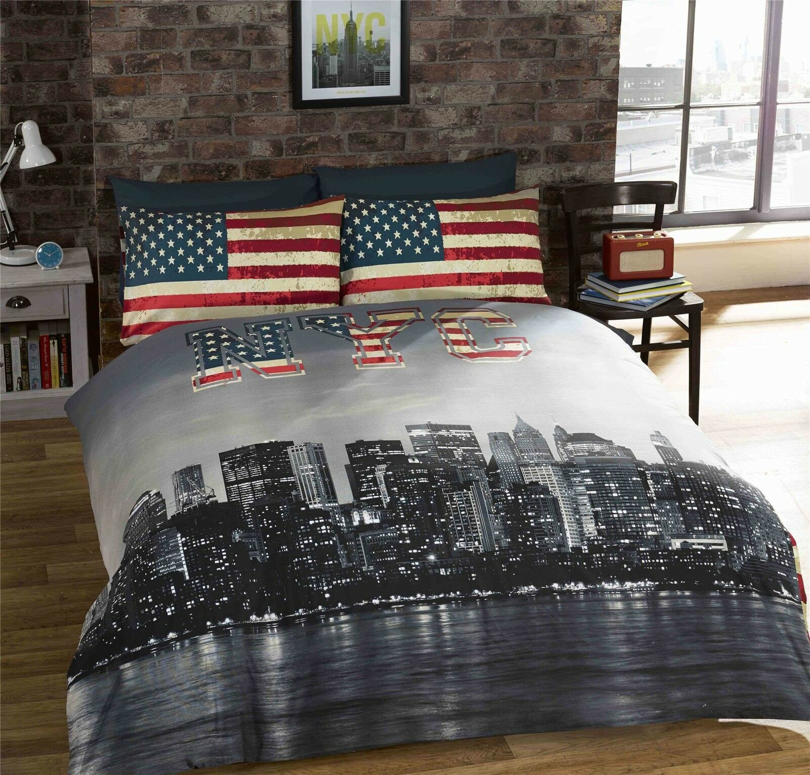NEW YORK CITY AMERICAN blueE REVERSIBLE COTTON BLEND DOUBLE 6 PIECE BEDDING SET