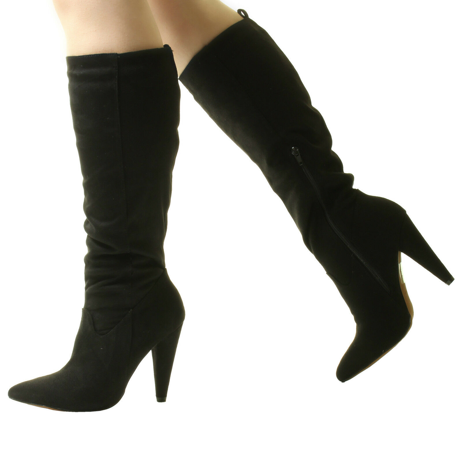 New Sexy Womans Ankle Calf Knee High Heels Stretch Zip Pull On Black Red Boots