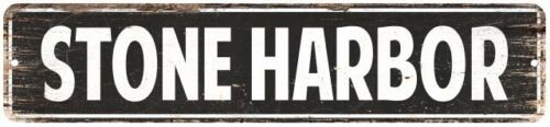 Stone Harbor Vintage Look Personalized Metal Sign Chic 4x18 104180008155