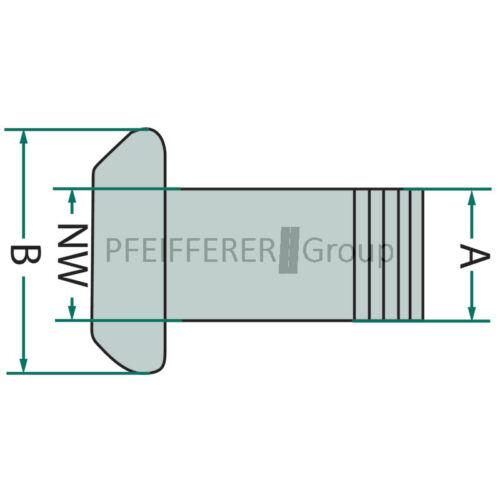 "sistema Perrot V-parte 5/"" con rosca externa pas f"