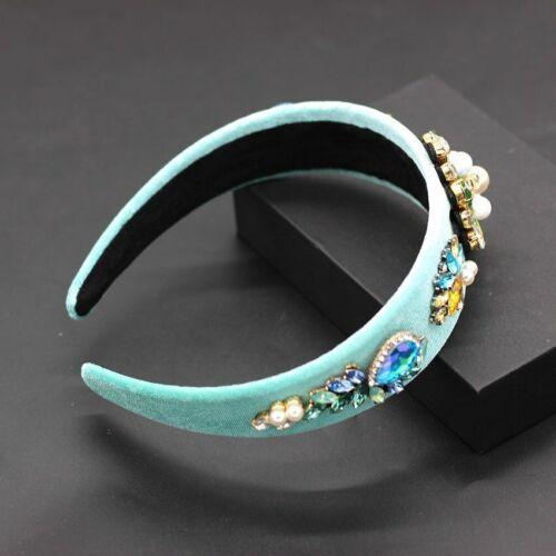 New Baroque Fashion Wild Personality Colorful Rhinestone Pearl Flower Headband