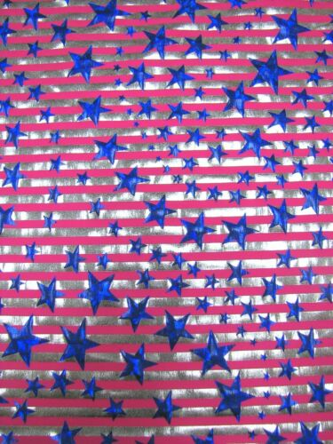 Stars and Stripes Hologram Foil Stretch Polyester Spandex Fabric