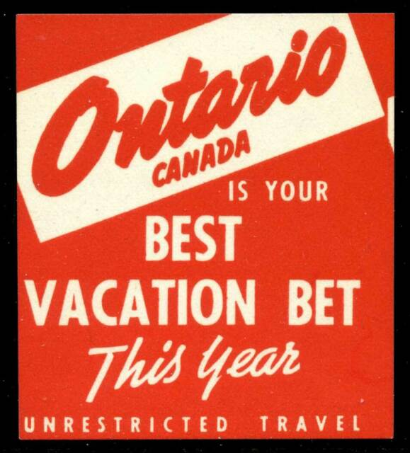 Canada - Promotional Poster Stamp - Ontario - Best Vacation Bet - c.1931-32