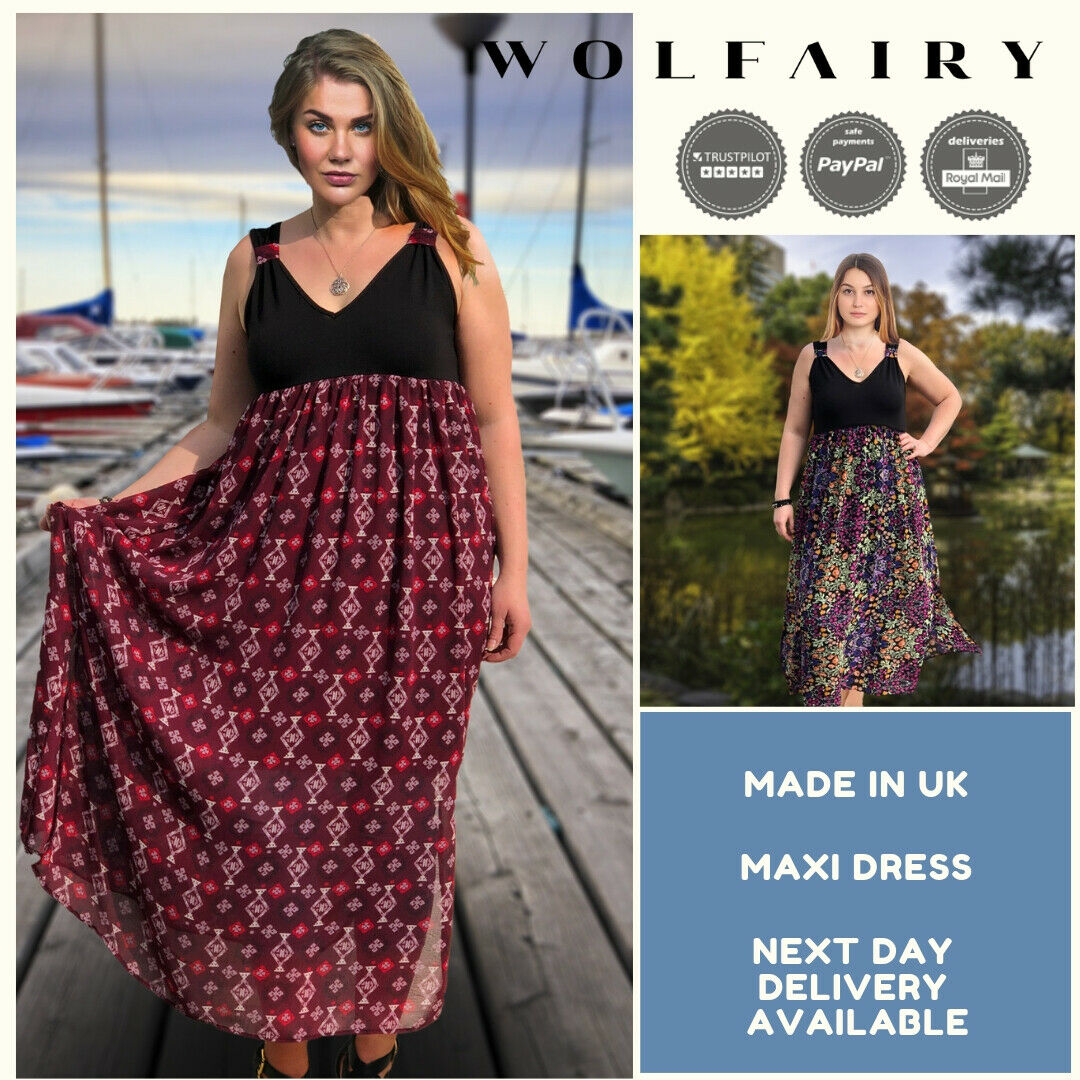 Wolfairy Plus Größe Maxi Summer Dress Airy Loose Sleeveless Long Holiday Beach