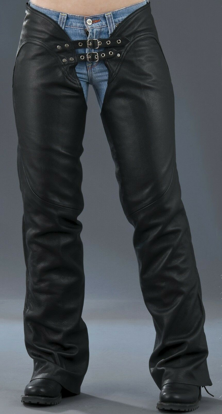 Ladies Sexy Low Rise Boot Cut Cowhide Leather Chaps HD745 for Motorcycle Riders