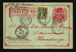 Chile-1894-Uprated-Postal-Card-to-Germany-Light-Creasing-Z14680