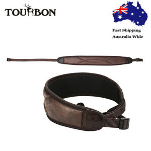 Tourbon-Hunting-Rifle-Sling-Gun-Strap-Nonslip-Shooting-Tactical-PU-Leather-Brown