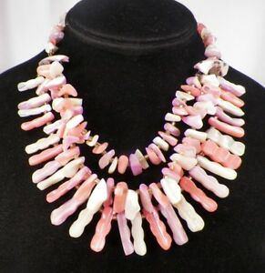 Vintage Shell Necklace 3 Strand Pink Lavender Cream Dyed Mother of Pearl Beauty