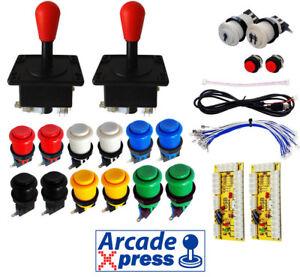 Kit-Joysticks-Arcade-Americano-Rojos-12-botones-Usb-2-players-Encoder-Bartop
