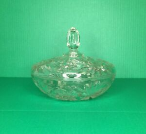 Vintage-Crystal-Candy-Dish-With-Lid-Clear-Glass-Elegant-Luxury-Decor