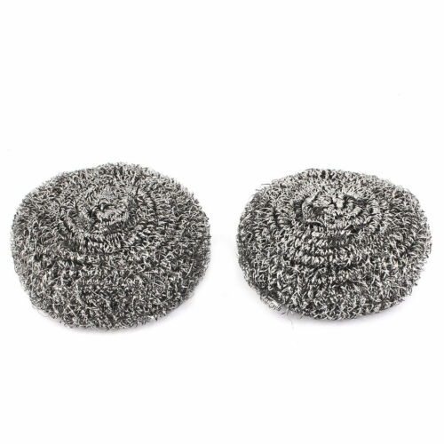 Bowl Pot Pan Stainless Steel Wire Balls Scrubber Pad Cleaning Tool 70mm Dia 2pcs