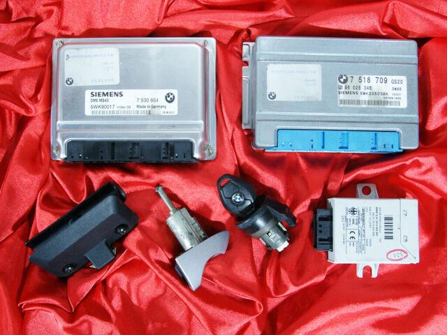 BMW E46 E39 E53 3 5 X5 series 3 0i M54 ENGINE DME MS43 EGS EWS3 LOCK KEY  ECU SET