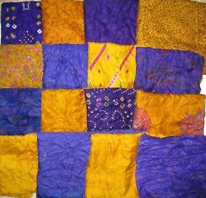 LOT-PURE-SILK-Antique-Vintage-Sari-Fabrics-REMNANT-20-pcs-5-inch-SQUARES-ABDBU