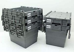 Used 5x Heavy Duty Plastic Storage Box Boxes With Folding Attached