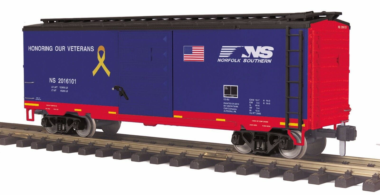 MTH 70-74093, G Scale   One Gauge, 40' Box voiture - Norfolk Southern (Veterans)