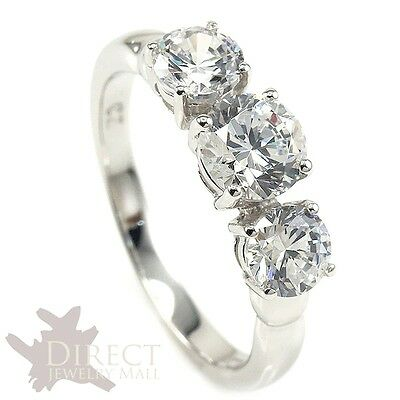 9ct Real White GOLD Created DIAMOND Engagement Wedding Ring Full Size Valentine