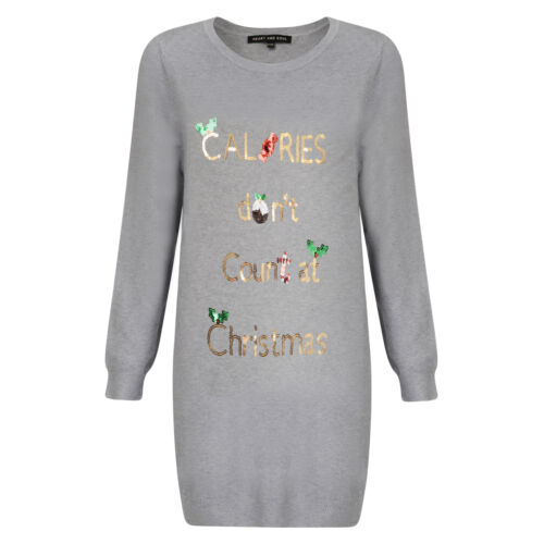 Ladies Office Party Xmas Tunic Jumper Collection Crew Neck Novelty Knitted Top