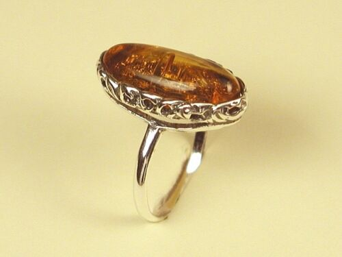 Ring 925 Sterling Silver /& 22 x 10 mm Genuine Cognac Baltic Amber