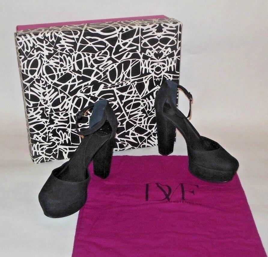 Nueva con caja Diane Diane Diane von Furstenberg Finn Gamuza Plataforma Grande Negro Tacones Zapatos Talla 8M  295  tienda de venta