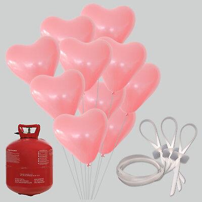 50/100 Herz Luftballons rosa Ballongas Hochzeit Helium Verschlüsse Herzballons