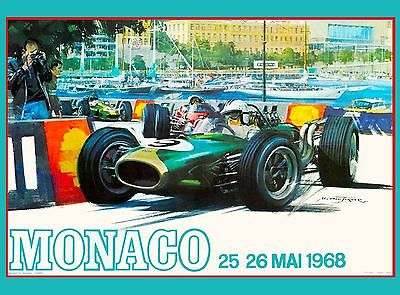 1967 Monaco 25th Grand Prix Automobile Race Car Advertisement Vintage Poster