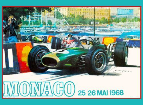 1968 Monaco 26th Grand Prix Automobile Race Car Advertisement Vintage Poster