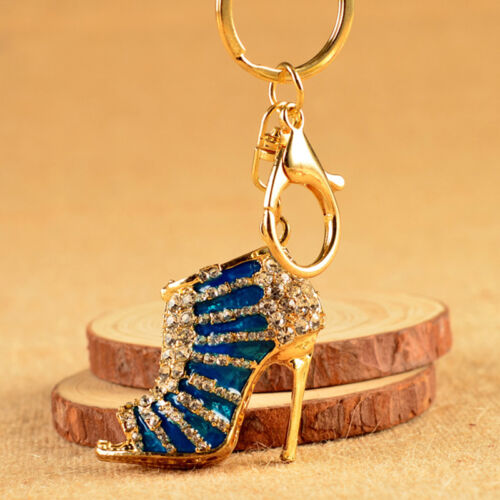 Women High Heel Keychain Rhinestone Crystal Shoe Purse Charm Pendant Bag Keyring