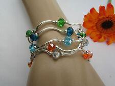 Women Silver Green Blue Orange Elastic Bracelet Beads Jewelry 5 Strands Anklets