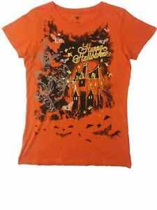 54458a2f Womens Orange Jack 'O Lantern Happy Halloween Tee Haunted House T ...