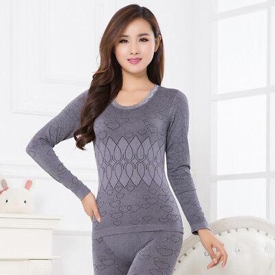 New Women/'s Thermal Winter Warm Long Sleeve Underwear Tops+Pants John Pajama Set