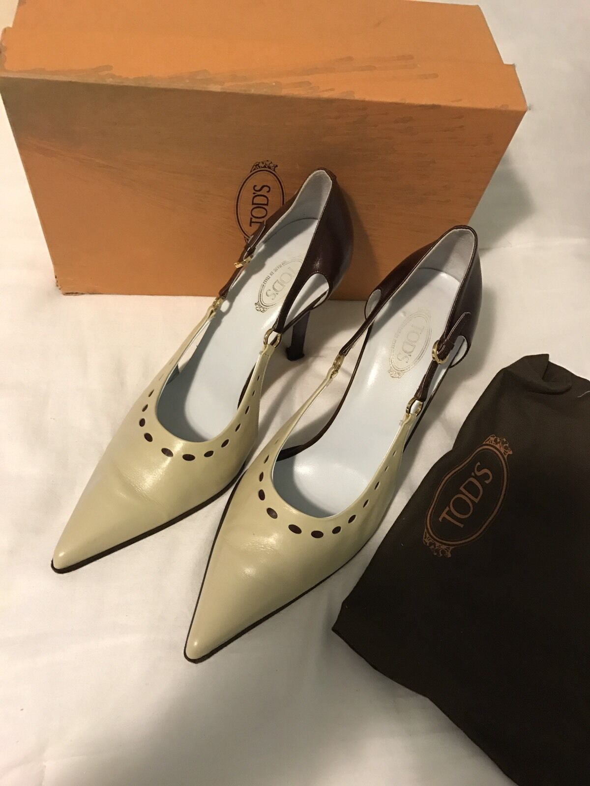 a9e644e6f63 Women s Tods Tods Tods Brown And Cream Heels Size 40 1bb833 - slip ...